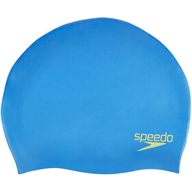 speedo Plain Moulded Silicone Cap Kids bondi blue/lime punch